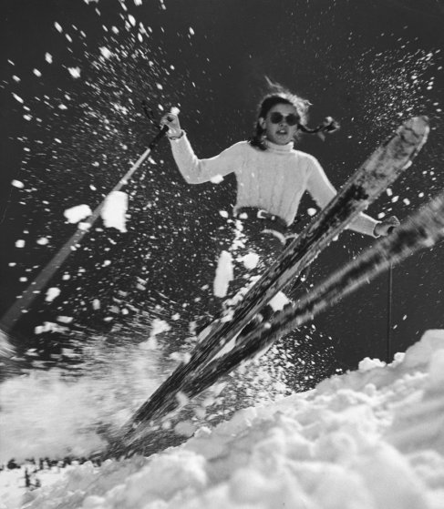 Andrea Mead Lawrence first woman gold medalist in alpine skiing training at the age of 15 in 1947 (TIME magazine-- George Silk—Time & Life Pictures/Getty Images)