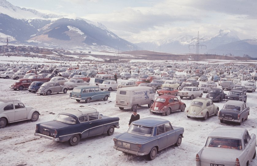 Parking lot for Innsbruck Olymics 1976 (TIME magazine--Ralph Crane—Time & Life Pictures/Getty Images)