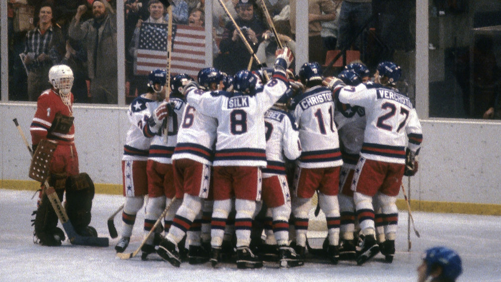 "USA beats USSR in hockey called ""Miracle on Ice"" 1980 (history.com)"