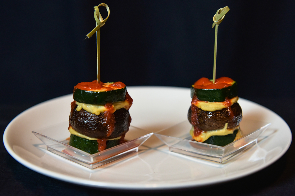 Roasted Zucchini & Baby Ports with Hummus and Red Pepper Sauce