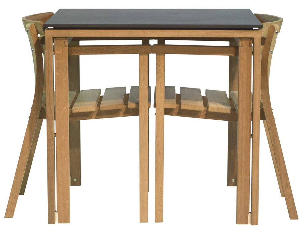 Levity. Designed to allow the chairs to tuck under the table