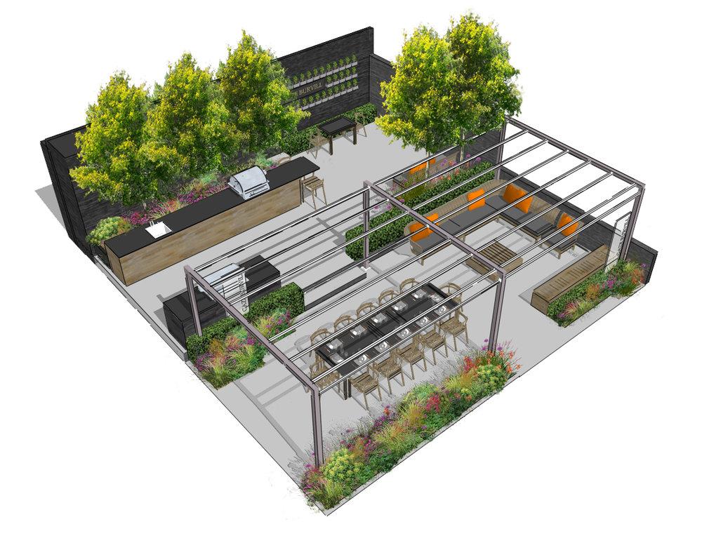 Gaze Burvill RHS Chelsea Flower Show 2017 tradestand 333. Designed by Aralia Garden Design.