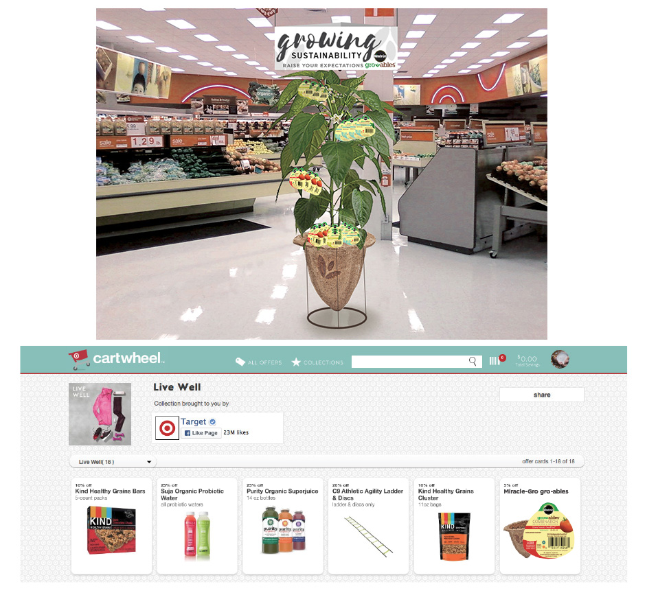Target shopper marketing display and feature in Target's Cartwheel Live Well collection.