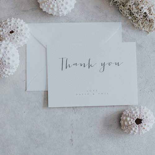 amour calligraphied style thank you cards lilac white