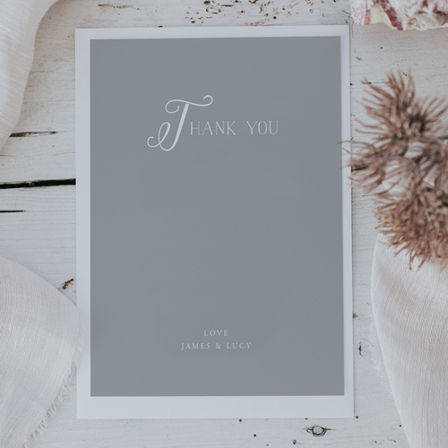 thank you cards lilac white