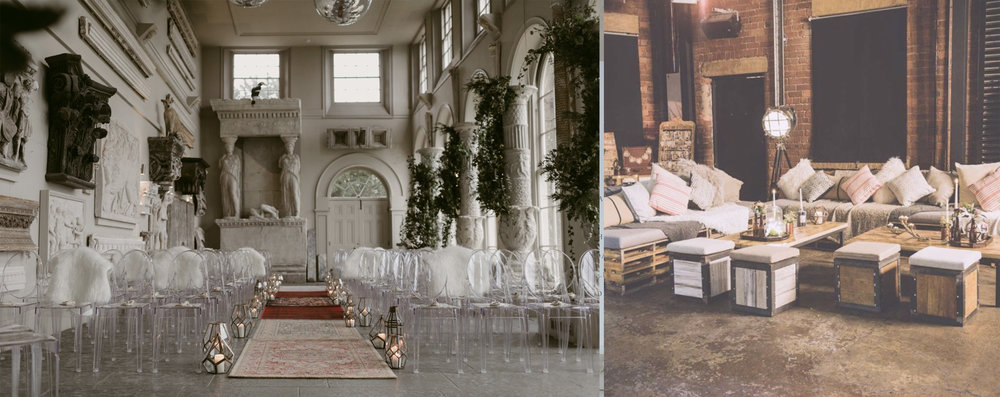 Left Image: Planning & Styling -  Vanilla Rose Weddings  | Photography -  Millar Cole Photography  | Furniture -  Wedhead  | Venue -  Aynhoe Park   Right Image: https://www.allthingsborrowed.co.uk