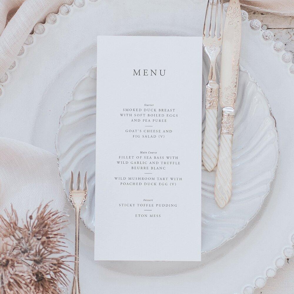 Elegance menu card lilac white stopboris Image collections