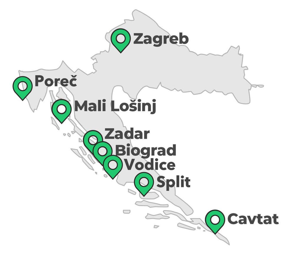 Fly to Zadar Airport (25min) or Split Airport (1hr30 min)