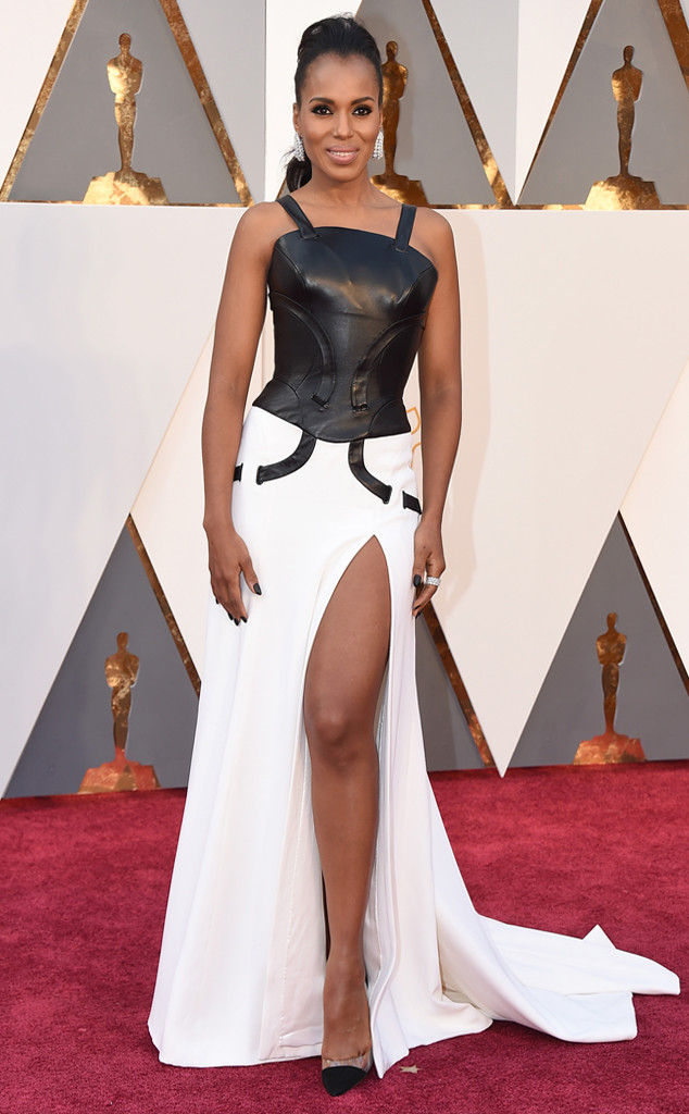 Actress Kerry Washington absolutely killed it in a black & white Atelier Versace gown. The leather corset gave her an edgy look while the white bottom and high slit made her look feminine. She was also laced in Harry Winston jewelry.