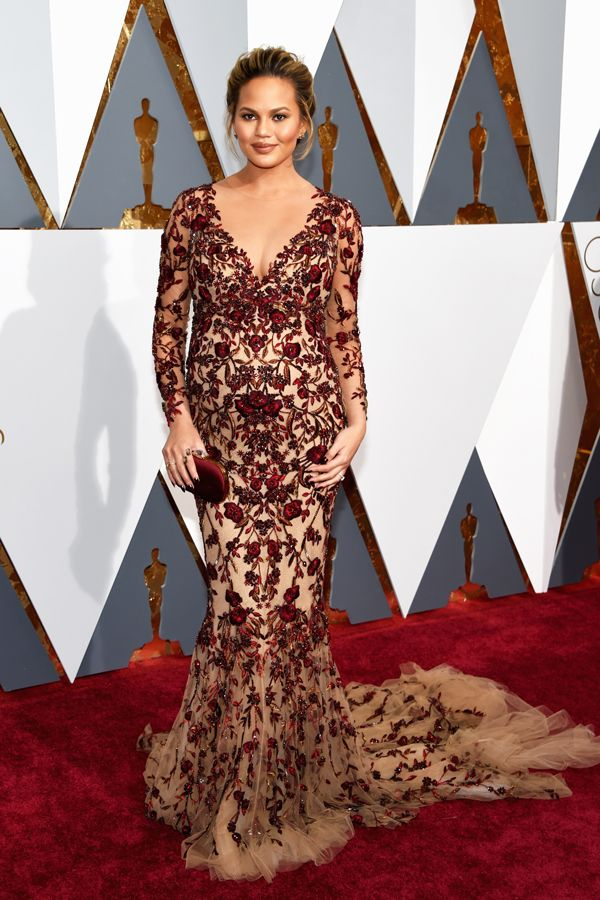 Model and mother-to-be Chrissy Teigen looked ravishing in this Marchesa gown. The blush sheerness of the dress and burgundy embellishments really worked well together and really made Teigen glow.