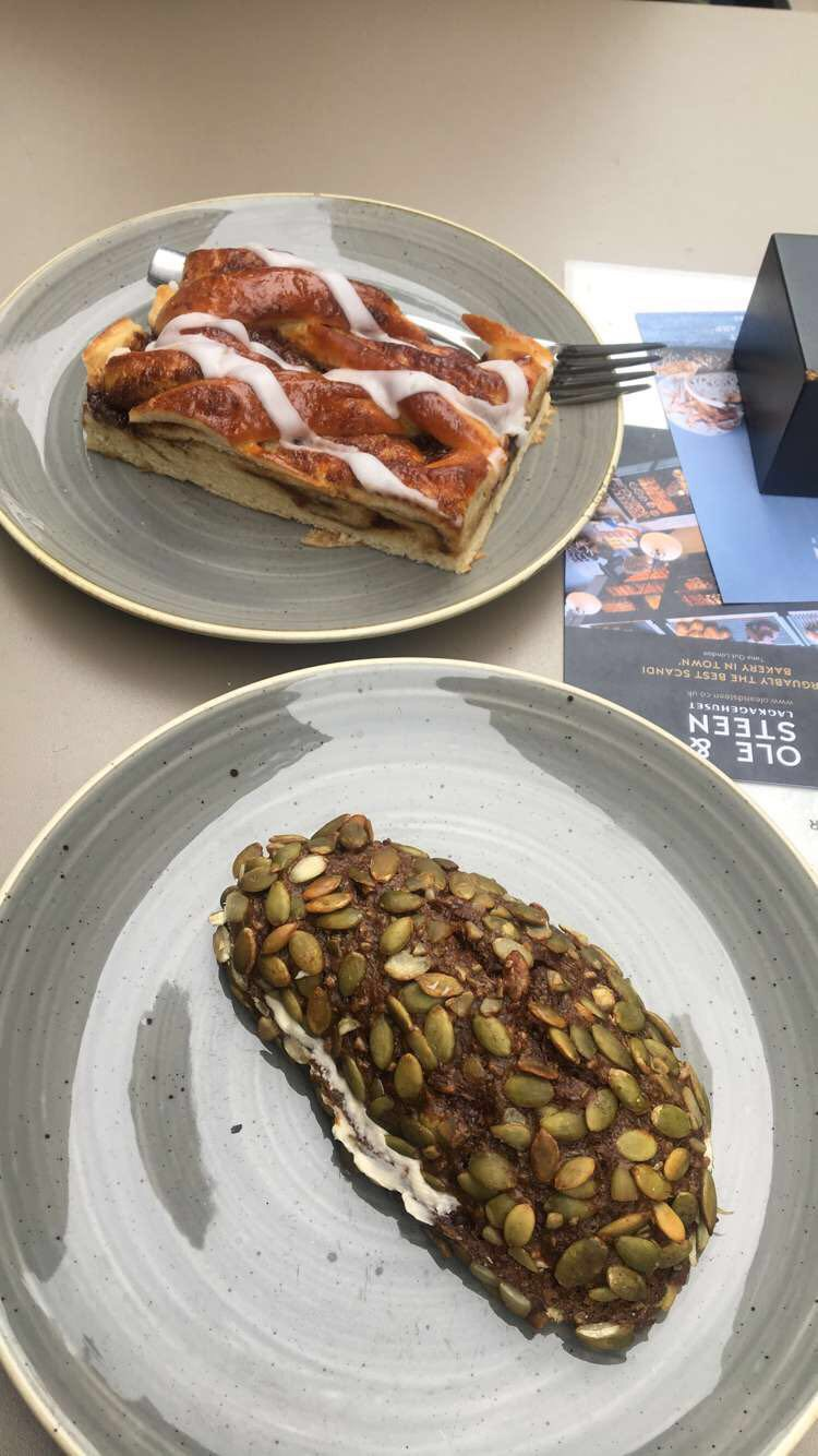 Breakfast at a cafe in London. This was sooo yummy -- a pumpkin seed roll with butter and a cinnamon pastry.