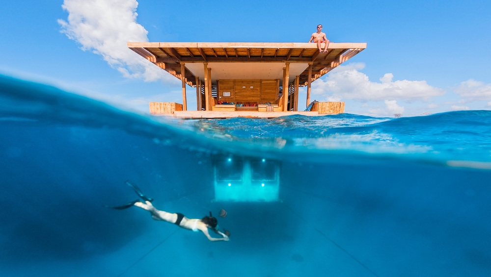 The underwater room at the Manta Resort, Pemba Island