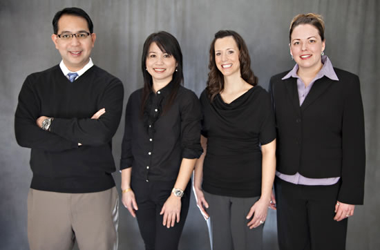 Adarve Prosthodonics team in Apple Valley, MN - Dr. Adarve, Jen, Bernadette, and Maria