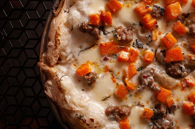 Butternut Squash + Fresh Sage + Fennel Sausage on our new winter Butternut Squash pizza!  #bufadpizza #phillypizza #phillyeatsgood