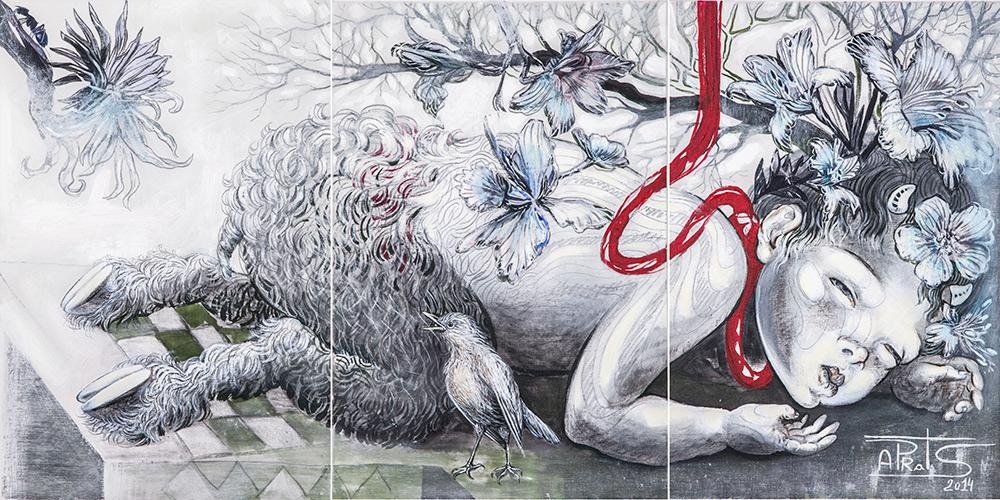 """""""Fauno"""", pintura da artista que integra a exposição  Cheiro de Jardim"""