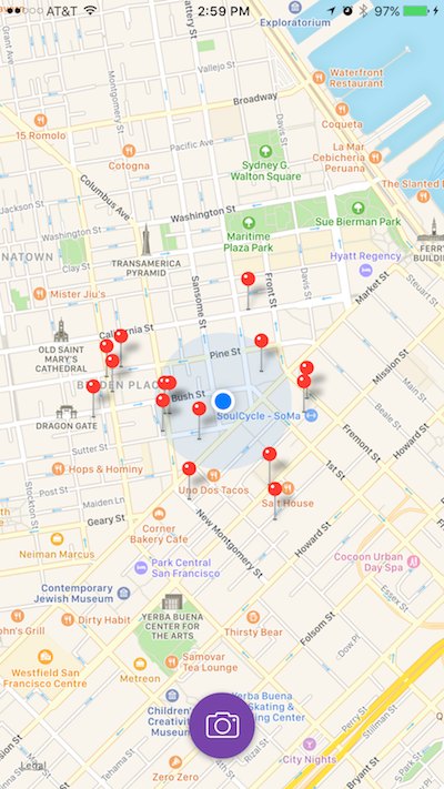 The user can view nearby restaurants on a map view. -