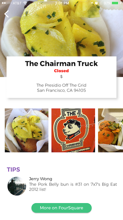 Touch an annotation to segue to a page with restaurant details. -