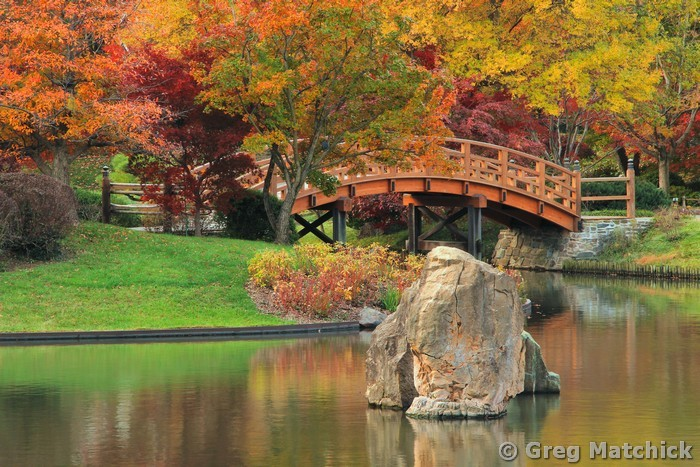 Stone, Lake and Bridge in Autumn