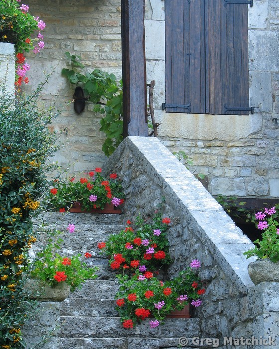 Steps and Flowers in Loubressac