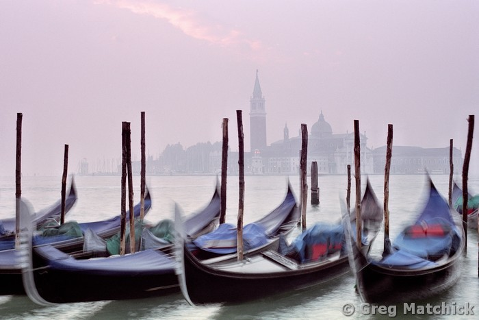 Gondolas and San Giorgio At Sunrise