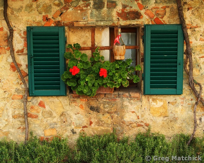 Window and Green Shutters in Chianti