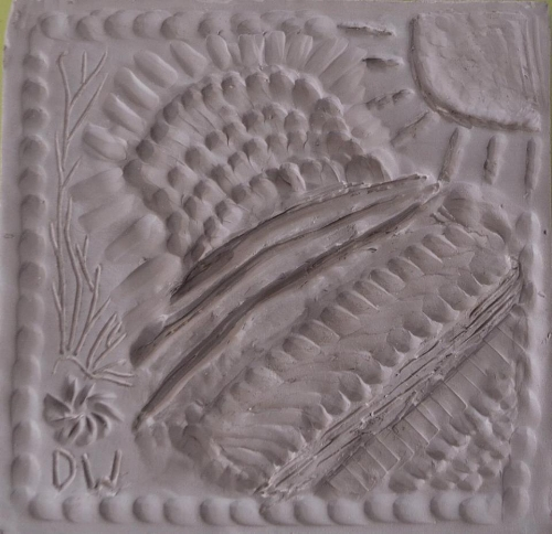 this tile was made an another elder in the group, she wanted very much to represent the textures found in nature...I think she did an excellent job and made this tile seem so soft