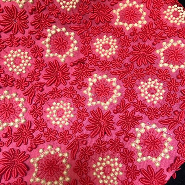 Loving this last scant yard of Haute couture scuba embroidery (never thought I'd say that!!) but can't think what to make - no more skirts! thoughts? Ideas?! #couture #mendelgoldbergfabrics #neoprene #sewing