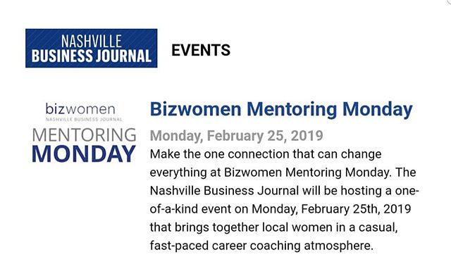 We are happy to announce the Nashville Business Journal as our exclusive media sponsor for SHE Talks and The Connection.  As such, WCRE is a sponsor for their Mentoring Monday that will be held Monday, February 25, 2019.  They would love for some of us to sign up as mentors!! #nashvillebusiness #nashvillebusinessjournal #wcrenashville #womenincommercialrealestate  #mentoringmonday