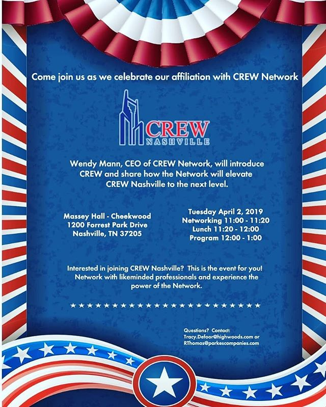CREW Nashville Kickoff  Come join us as we celebrate it affiliation with CREW Network  Tuesday, April 2, 2019 Cheekwood - Massey Hall 1200 Forest Park Drive Nashville, TN 11:00 - 1:00