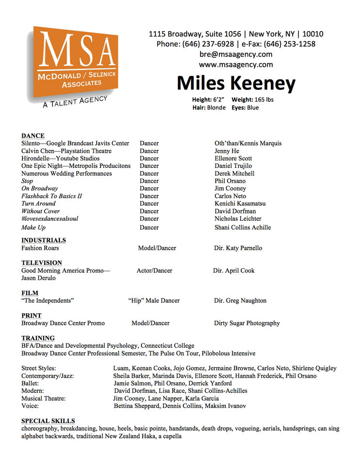 Performance Resume — Miles Keeney