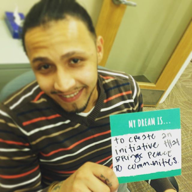 """My dream is to create an initiative that brings peace to communities."" #stopandshake #peace #bethechange #buildingcommunities #newyork"