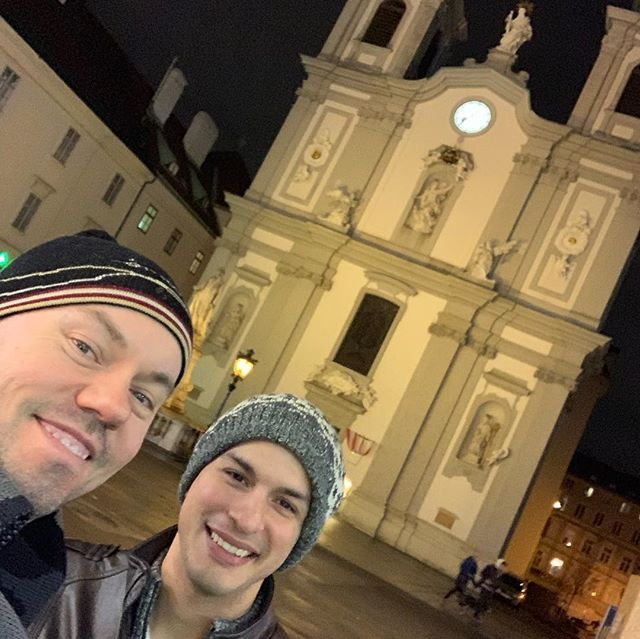 Vienna!! A little night time stroll to kick off the jet lag and we ran into good ole Joseph Haydn. #haydn #austria #vienna #gaytravel