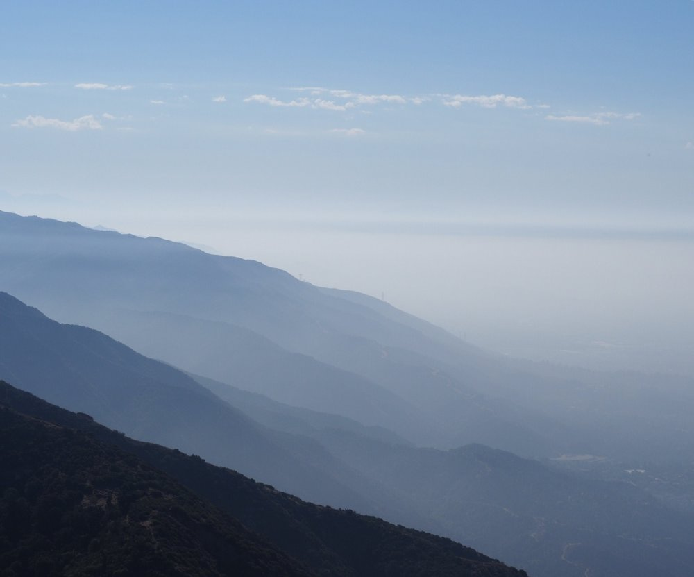 View looking east from the top of the trail in Sierra Madre