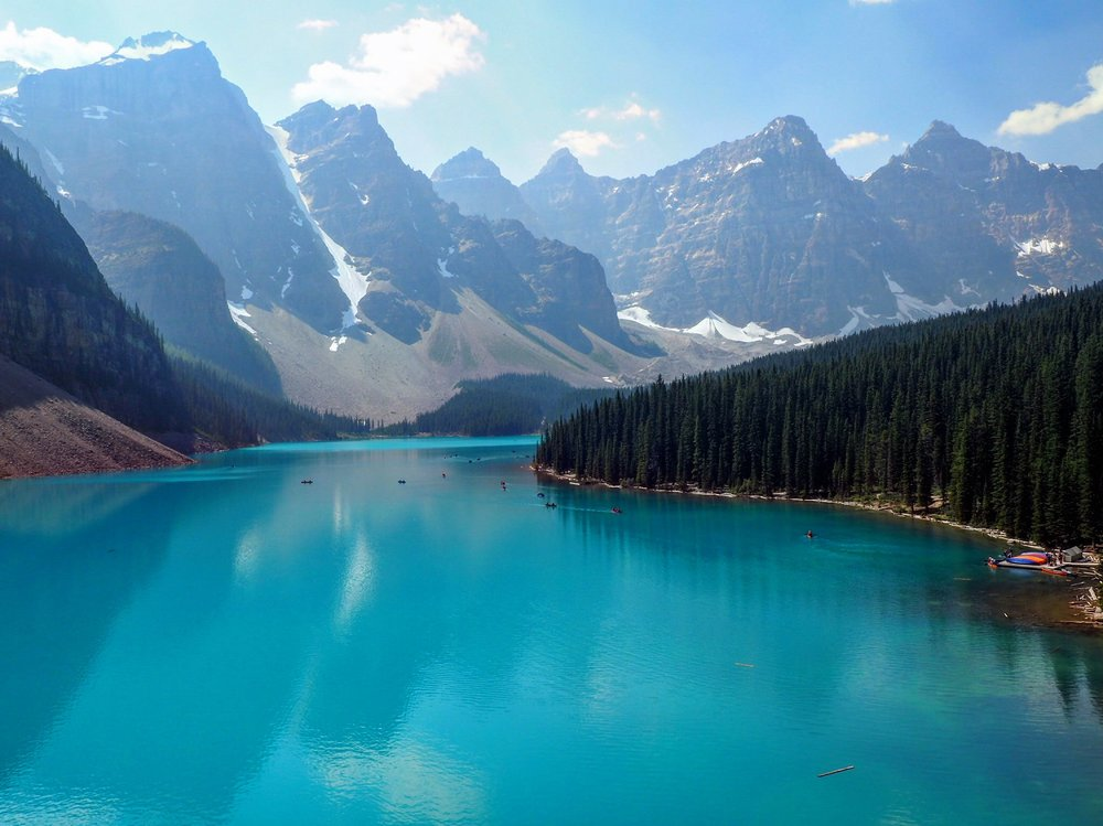 Moraine Lake on Sunday. We were lucky to enter and get a parking spot. They limit the crowds by closing down the road when it gets busy.