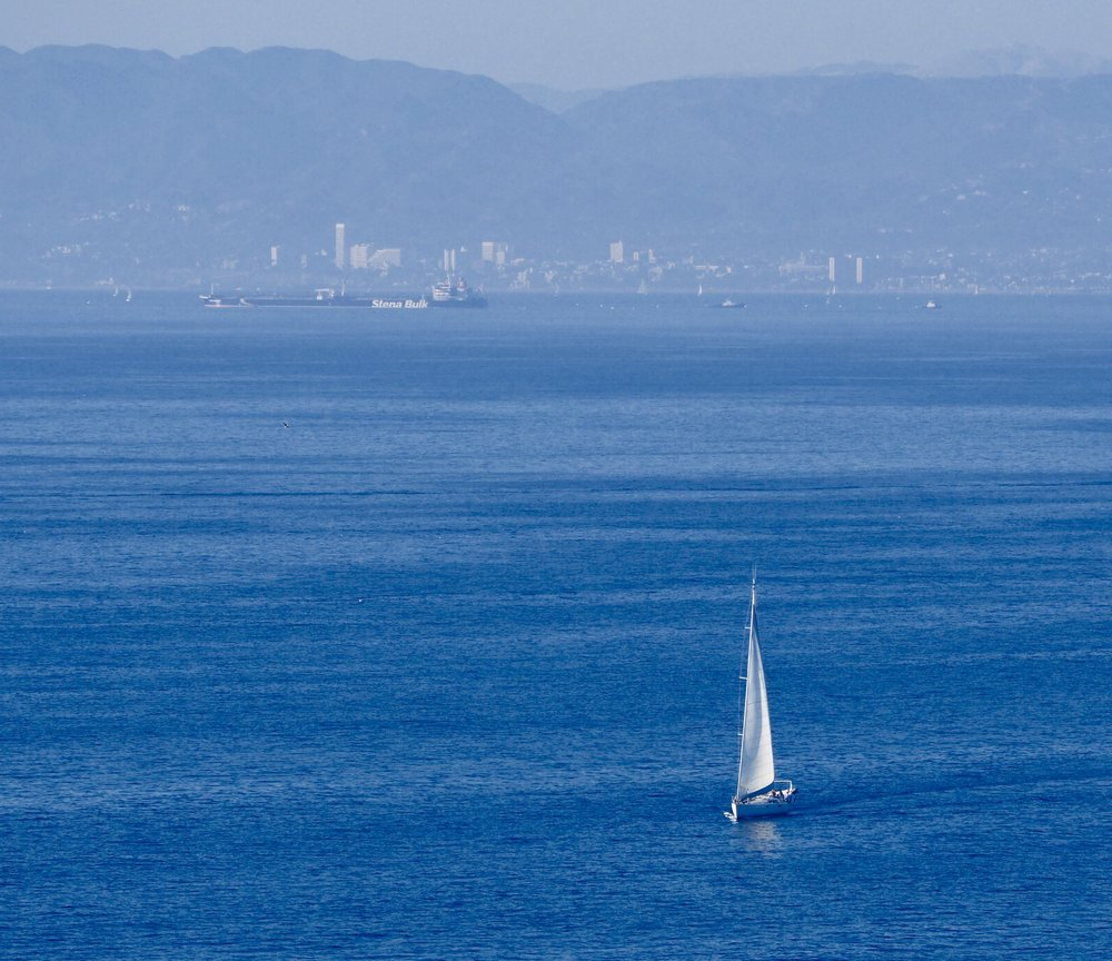 This sailboat was in the 60' range and made Santa Monica bay look small