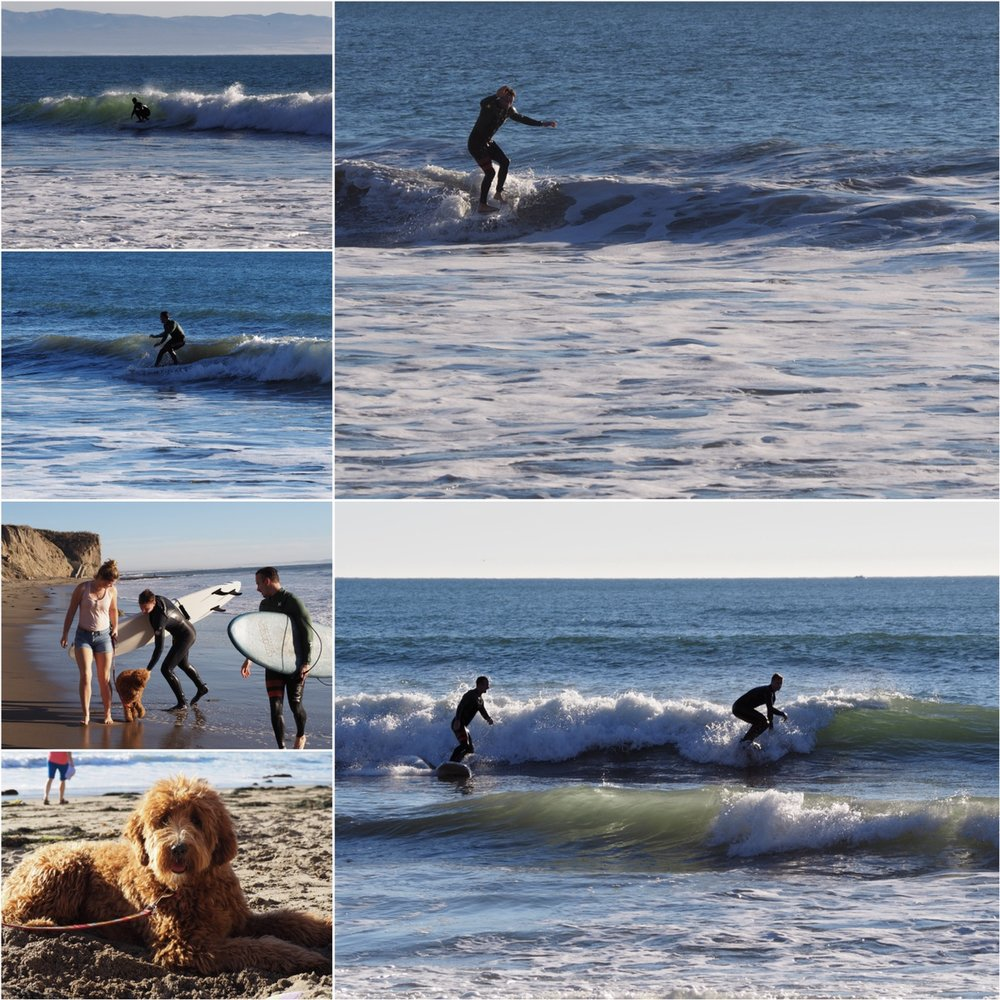 James and I went surfing because the weather was unseasonably warm plus some swell was in the water, we traded boards too so I was trying some nose rides (top right)