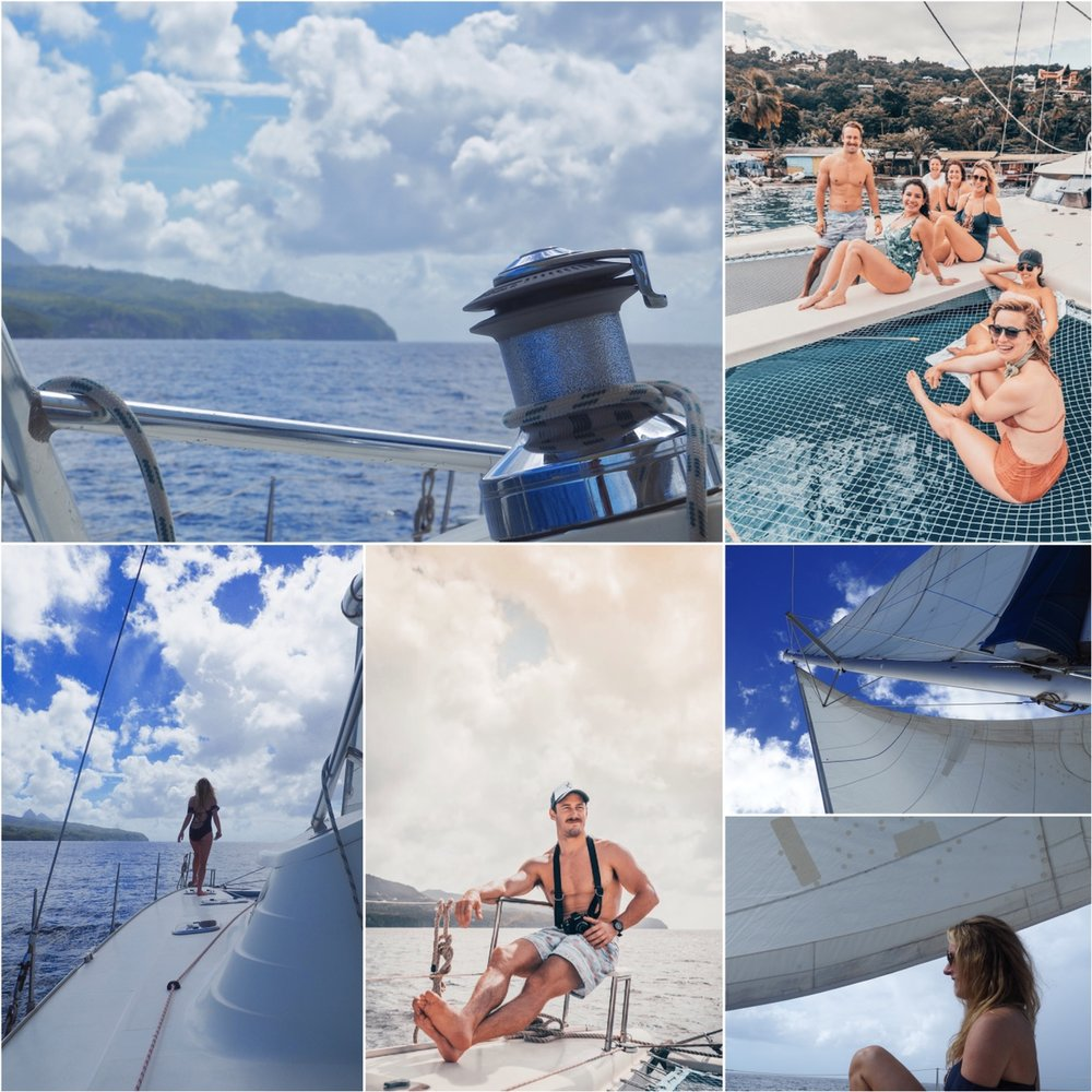 The catamaran charter was half snorkel tour and half booze cruise for just our group. The candid photos are Leif's.