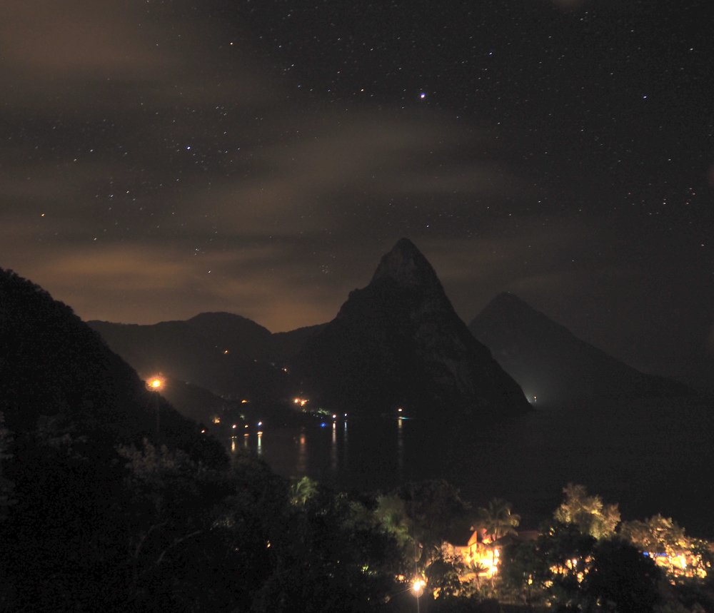 Trying night shots from the pool deck. The white light coming from the right of the first piton is actually lights from a 298' yacht in front of the Viceroy resort (Sugar Beach)