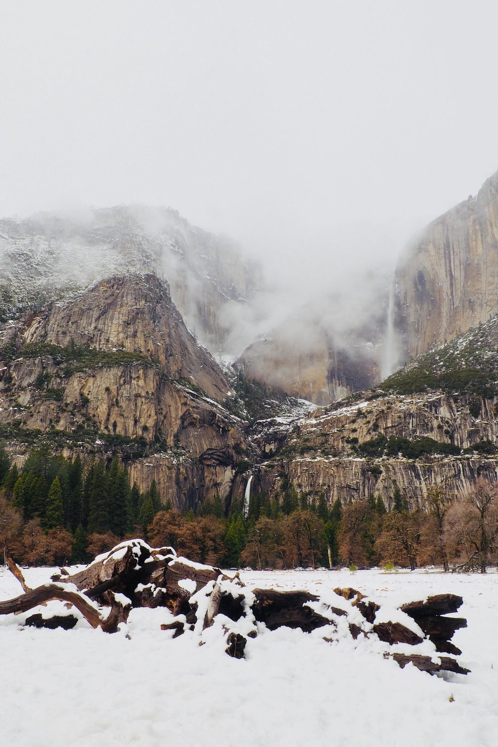 Saturday morning cleared up for a few hours and then more weather with snow passed though preventing us from getting any sunset photos. This is upper and lower Yosemite Falls from a meadow