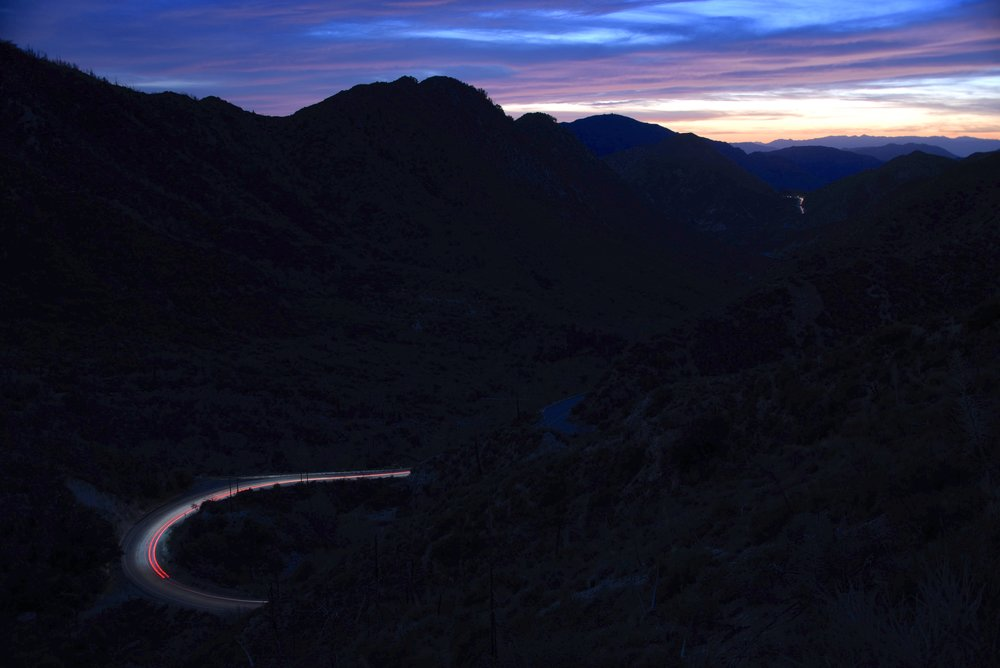 dusk view Angeles Crest Highway and long exposure to get some of the cars racing down it.