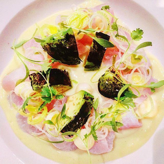 Tiradito de lenguado apaltado @isla_atx flounder, avocado leche de tigre, charred avocado, spring leek salsa criolla . . #austin #austinfood #austineats #austinfoodstagram #peru #peruvianfood #peruinaustin #tiradito #cebiche #ceviche #hirame #avocado #truecooks #cheflife