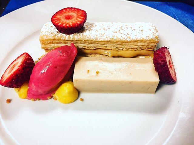 Strawberries and Cream milhojas @isla_atx sweet cream #pannacotta , puff pastry, #manjarblanco , strawberry sorbet. A play on strawberries and condensed milk . .  #austin #austineats #austinfood #peru #peruvianfood #peruinaustin #spring #truecooks #dessert #cheflife