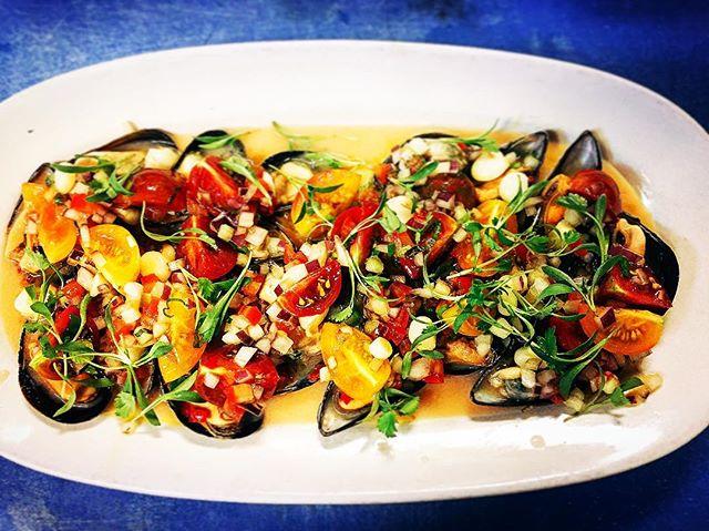Choros a la Chalaca . A perfect refresher for the Austin warm weather @isla_atx chilled mussels, #raindropfarm cherry tomatoes, salsa #chalaca, #lechedetigre . .  #austin #austineats #austinfood #austinfoodstagram #eateratx #peru #peruinaustin #peruvianfood #choros #truecooks #cheflife