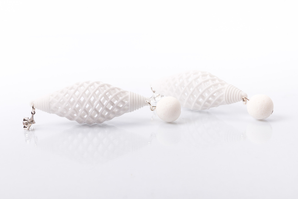 Earrings Nina Simone #14      Collection: Nina Simone  3D print, white coral   oRDER