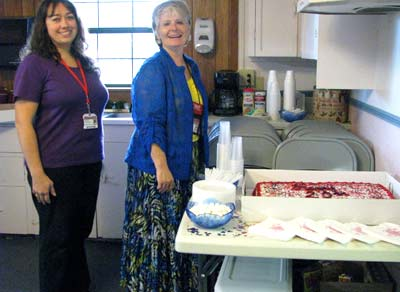 Jeannie Grissom, director, and Amanda Westbrook of the Vilonia Parent Center celebrates the center's 20 years of service with an Open House.