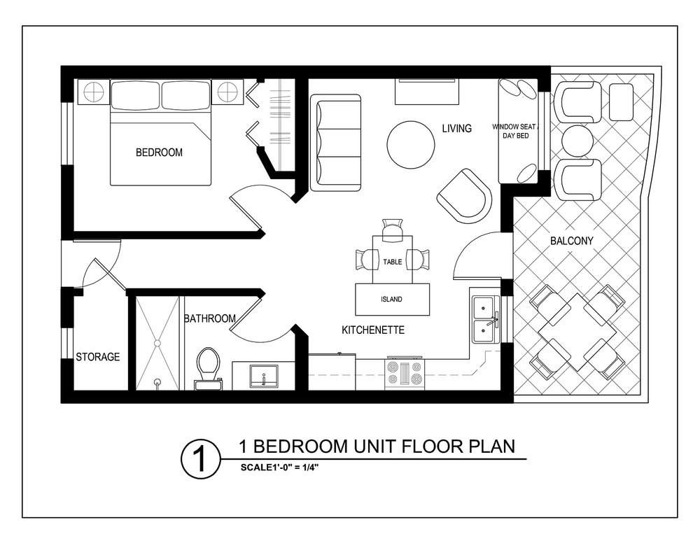 Third floor one bedroom condos sapphire beach resort for 1 bedroom plan