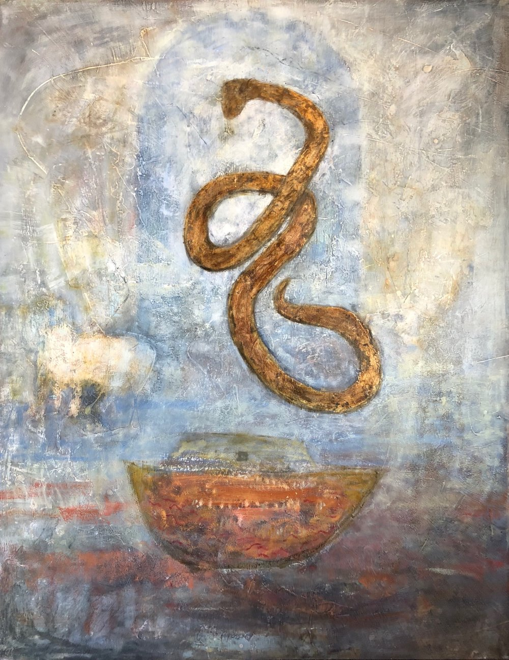 The Bronze Serpent, 60x47, Oil and Mixed Media on panel