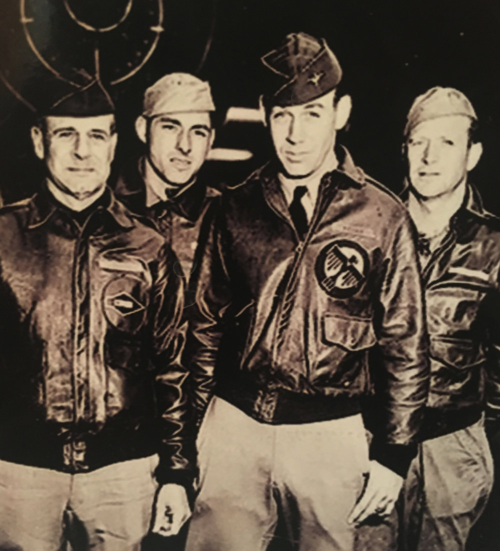 Pictured Left to Right: Lt. Col. J.H. Doolittle, Ssgt. F.A. Braemer,  Lt. R.E. Cole,  Ssgt. P.J. Leonard.