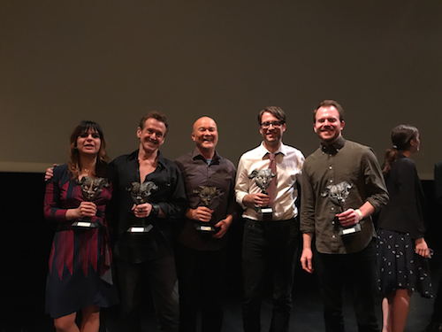A photo taken shortly after the ceremony at the Folly Theater in Kansas City, MO. (Left to right: Karla Ortiz, Bill Sienkiewicz, Bill Carman, Jeffrey Alan Love, Edward Kinsella)