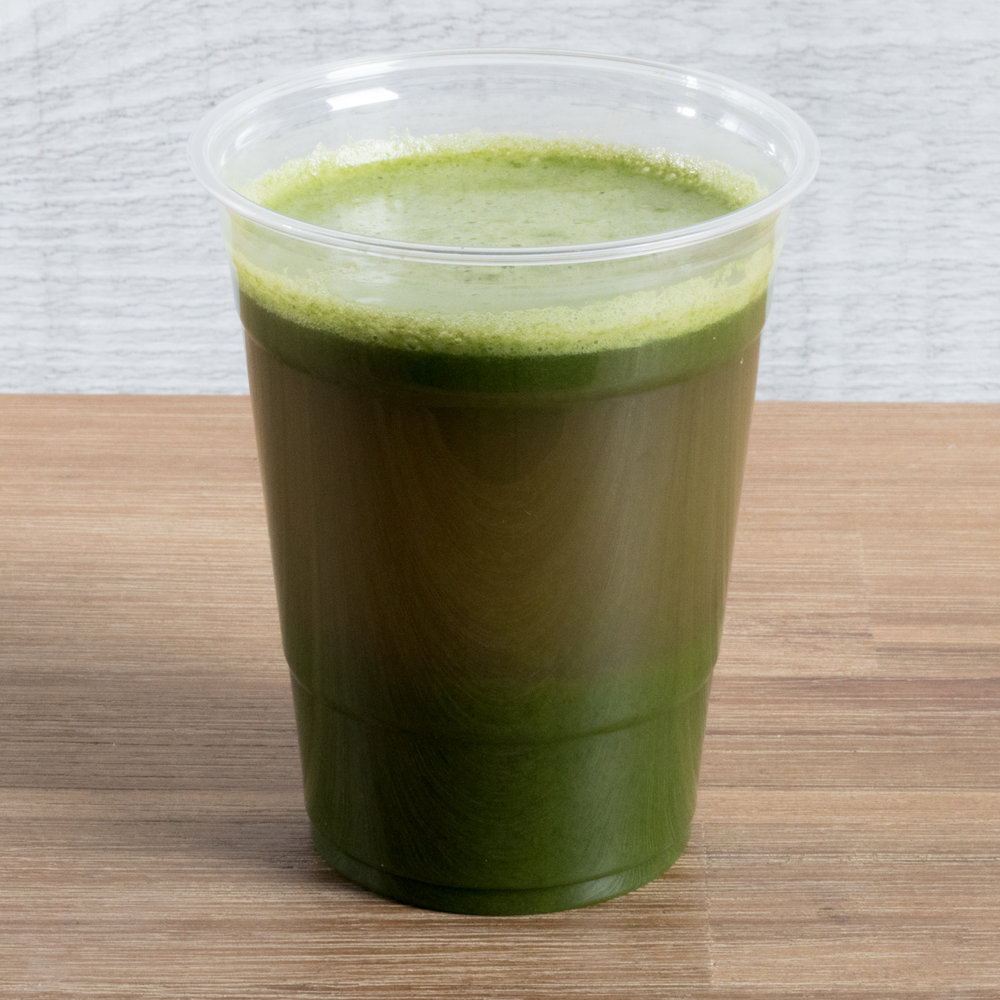 Glowing Greens (Pitta, Kapha)    Includes:  Cucumber, celery, parsley, romaine, apple, mint, lime   Benefits:  anti-inflammatory, detoxifying, lymph drainage support, adrenal support